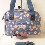 กระเป๋าถือ+สะพาย Chalita wu สีฟ้า ลายดอกไม้