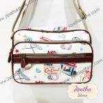 กระเป๋าสะพาย Chalita wu สีขาว ลายลูกโลก