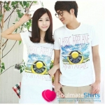 เสื้อคู่ เสื้อคู่รัก ชุดคู่รัก เสื้อคู่รักเกาหลี เสื้อผ้าแฟชั่น ผู้ชาย + ผู้หญิงเดรสเอวเข้ารูป สีขาว ช่วงอกสกรีนลาย เก๋ไก๋