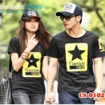เสื้อยืดคู่รัก ชุดคู่รัก เสื้อคู่ เสื้อคู่รักเกาหลี เสื้อยืดคู่รักผ้าฝ้าย สีดำ สกรีนลายดาวห้าแฉกสีเหลืองตรงกลางอก