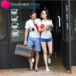 เสื้อคู่รัก ชุดคู่รัก เสื้อคู่ เสื้อยืดคู่รักผ้าฝ้าย สีขาว,ลายหัวใจ LOVE