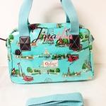 กระเป๋า Chalita wu + สะพาย สีเขียวอมฟ้า ลายกรุงเทพ