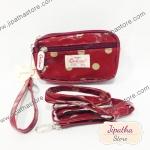 กระเป๋าคล้องมือ+ สะพาย 3 ช่องใบเล็ก สีแดง ลายจุด