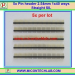 5x Pin header 2.54mm 1x40 ways Straight SIL (ก้างปลา)