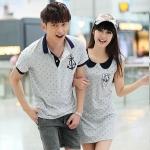 ชุดคู่รัก เสื้อคู่รักเกาหลี เสื้อผ้าแฟชั่น เดรสคู่รักเกาหลี (ตัวเสื้อสีเทา-ปกกรมท่า )