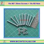 10x M3* 35mm Screws + 10x M3 Nuts (สกรูหัวกลม+น็อตตัวเมีย ขนาด 3มม ยาว 35มม)