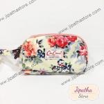 กระเป๋าคล้องมือ Chalita wu สีครีม ลายดอกไม้