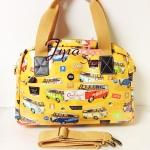 กระเป๋า Chalita wu + สะพาย สีเหลือง ลายรถ