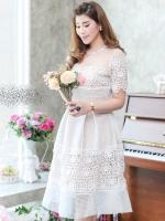 พร้อมส่ง-ไซส์ M / L ชุดไปงานแต่งงาน ชุดออกงานสีขาว ผ้าลูกไม้ แขนสั้น แนวสวยหวาน เรียบหรูดูดี สวยสง่า