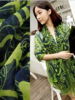 ผ้าพันคอผ้าฝ้าย ลายดวงอาทืตย์ สีเขียว ( รหัส P174 )