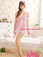 ชุดนอนเซ็กซี่ผ้ามันสีชมพูให้คุณได้สัมผัสรักอย่างนุ่มนวล