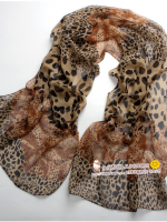 ผ้าพันคอชีฟอง เสือดาวสีน้ำตาล ( รหัส P48 )