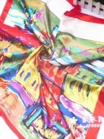 ผ้าพันคอผ้าซาติน จินตนาการสีแดง