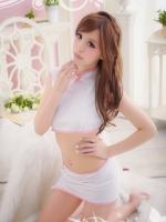 ชุดจีนแฟนซีกี่เพ้าสุดน่ารักสีขาวขอบชมพูสุดน่ารัก