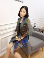 ผ้าพันคอผ้าฝ้าย ฤดูใบไม้ในบาหลี สีน้ำเงิน