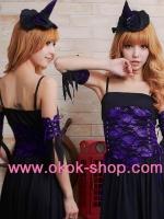 ชุดแม่มดแฟนซีสาวแสนสวยมาในชุดสีม่วงตัดดำทรงเสน่ห์