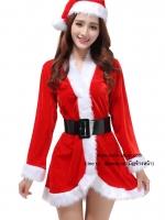 ชุดซานต้าครอสผู้หญิงแฟนซีปีใหม่มาชุดสีแดงตัดขอบขาวแขนยาวสุดน่ารัก