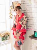 ชุดยูกาตะสั้นสีแดงสวยสไตล์การ์ตูนญี่ปุ่น