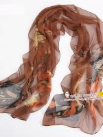 ผ้าพันคอผ้าPolyester+ผ้าไหม สีน้ำตาล ( รหัส P76 )