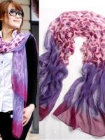 ผ้าพันคอผ้าไหม เสือชีตาร์สีม่วง ( รหัส P140 )