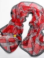 ผ้าพันคอผ้าไหม ลายอังกฤษลิตเติ้ลสีแดง ( รหัส P105 )