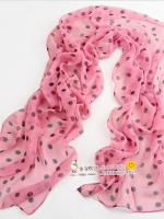 ผ้าพันคอผ้าไหม ลายจุดสีชมพู ( รหัส P99 )