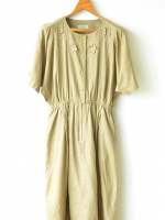 "[QC] Vintage Khaki-color Linen Dress (Waist 26-32"")"