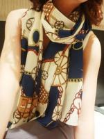 ผ้าพันคอชีฟอง สีน้ำเงิน