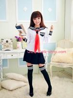 ชุดนักเรียนญี่ปุ่นแขนยาวสีขาวคอสเพลย์การ์ตูนญี่ปุ่น (มีไซต์ให้เลือกและมีไซต์ใหญ่)