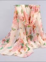 ผ้าพันคอชีฟอง สีขาวอมชมพูลายผีเสื้อนานาพันธ์ุ