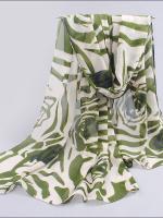 ผ้าพันคอชีฟอง ลายกุหลาบสีเขียว