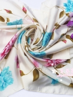 ผ้าพันคอผ้าซาติน Blossom Flower
