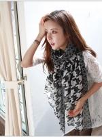 ผ้าพันคอผ้าฝ้าย ลายดำขาวเทรนด์เกาหลี