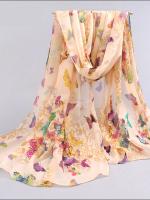 ผ้าพันคอชีฟอง สีเบจหลายผีเสื้อนานาพันธุ์