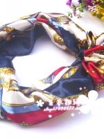 ผ้าพันคอผ้าซาติน ลายจักรพรรดิสีน้ำเงิน