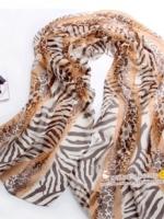 ผ้าพันคอผ้าPolyester+ผ้าไหม ลายม้าลายสีน้ำตาล ( รหัส P120 )