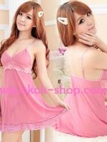 ชุดนอนเซ็กซี่สีชมพูหวานสวยเอ็กซ์