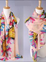 ผ้าพันคอผ้าชีฟองลายทานตะวัน ( รหัส P202 )