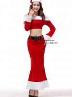 ชุดซานตาครอสหญิงแฟนซีแบบ2ชิ้นแขนยาวกระโปรงยาวสวยเซ็กซี่ในแบบคอสเพลย์