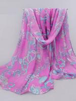 ผ้าพันคอชีฟอง สีชมพูลายโซ่