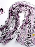 ผ้าพันคอผ้าPolyester+ผ้าไหม ลายม้าลายสีม่วง ( รหัส P117 )