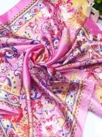 ผ้าพันคอผ้าซาติน Indian Pink Style
