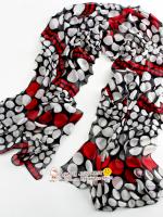 ผ้าพันคอผ้าPolyester+ผ้าไหม ลาย Spot สีดำแดง ( รหัส P143 )