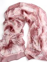 ผ้าพันคอผ้าPolyester+ผ้าไหม ลายสก็อตสีแดงชมพู ( รหัส P75 )