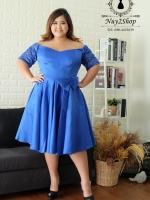 **พร้อมส่ง ชุดราตรีผ้าไหมสีน้ำเงิน แนววนิดา ไหล่ปาด อก 34-50 นิ้ว