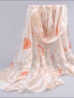 ผ้าพันคอชีฟอง ลายกุหลาบสีส้มขาว
