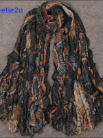 ผ้าพันคอผ้าฝ้าย ลายเกาหลีโบฮีเมียนสีดำ ( รหัส P189 )