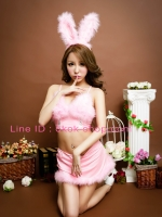 ชุดกระต่ายสีชมพูแฟนซีขนนกฟรุ้งฟริ้งเซ็กซี่หวาน Bunny Girl คอสเพลย์