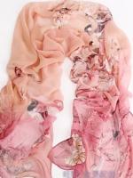 ผ้าพันคอผ้าไหม ลายนกสีชมพู ( รหัส P86 )