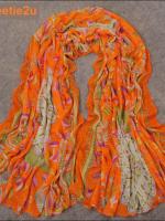 ผ้าพันคอผ้าฝ้าย ลายเกาหลีโบฮีเมียนสีส้ม ( รหัส P190 )